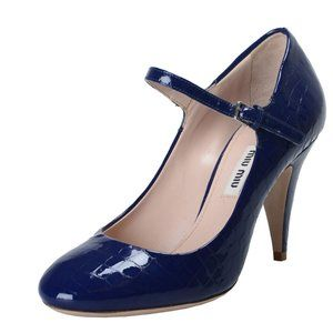 Miu Miu Women's Blue Textured Leather Pumps